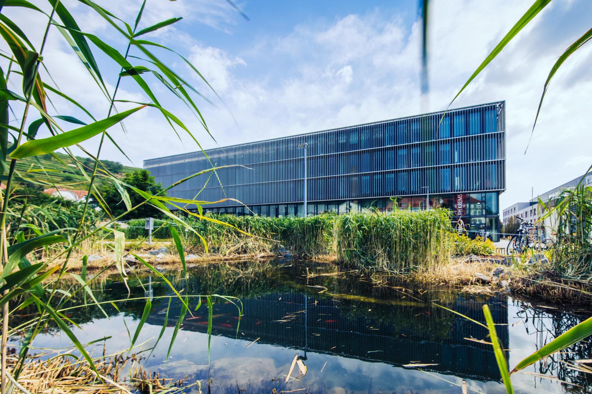 IMC Campus Krems - Teich im Vordergrund